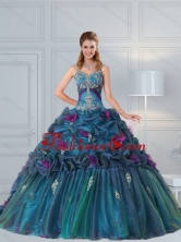 New Arrival Cute Multi Color Quinceanera Gown with Hand Made Flower and Pick Ups QDZY321FXFOR