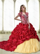 New Arrival Embroidery Quinceanera Dresses in Wine Red and Yellow SJQDDT31002FOR