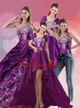 New Arrival Embroidery Strapless Quinceanera Dress in Purple for 2015 QDZY258TZA2FOR