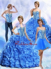New Arrival Embroidery and Ruffles Royal Blue Quinceanera Dresses SJQDDT32001FOR