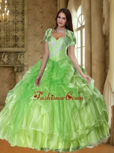 New Arrival Lime Green  Quinceanera  Dresses with Beading and Ruffles SJQDDT36002FOR