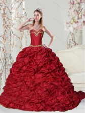 New Arrival Sweetheart 2015 Red Quinceanera Dress with Embroidery and Pick Ups ZY775FX