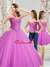 New Arrival Tulle Sweetheart Beading Quinceanera Dresses in Fuchsia SJQDDT12001-1FOR