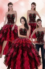 New Arrival Wonderful Multi Color Dresses for Quince with Ruffles and Beading XFNAO5800TZA2FOR