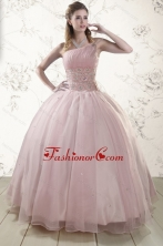 One Shoulder Beading Light Pink Quinceanera Dresses for 2015 XFNAO5811FOR