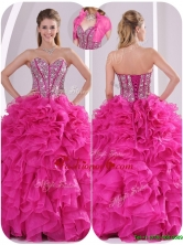 Popular Ruffles and Beading Quinceanera Gowns in Fuchsia LFY091906BFOR