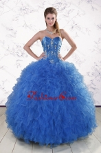 Pretty Royal Blue 2015 Quinceanera Dresses with Appliques and Ruffles XFNAO804FOR