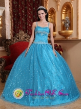 Puerto Caimito Panama Spaghetti Straps Sequin And Beading Decorate Popular Teal Quinceanera Dress  For 2013 Style Style QDZY715FOR