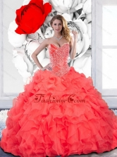 Remarkable Beading and Ruffles Sweetheart Quinceanera Dress for 2015 QDDTC29002FOR