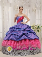 Rio Hato Panama  Colorful Exclusive Quinceanera Dress With purple Taffeta and pink Organza and Zebra Pick-ups in Summer Style QDZY441FOR