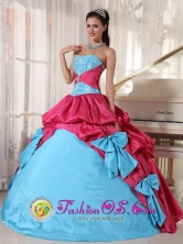 Santa Ana Arriba Panama Aqua Blue and Hot Pink Quinceanera Dress in pick ups and bowknot for 2013 Graduation Style PDZY385FOR