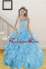 The Most Popular Ruffles and Beading Baby Blue Quince Dresses for 2015 XFNAO5844TZFXFOR