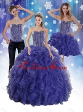 The Super Hot Beading and Ruffles Quince Dresses in Royal Bule XFNAO7751TZA1FOR