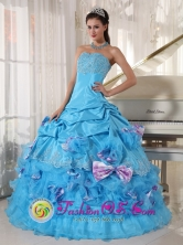 Ustupo Panama Romantic Aqua Quinceanera Dress Appliques Decorate Bust With Pick-ups and Bowknot Ball Gown for Graduation Style PDZY747FOR