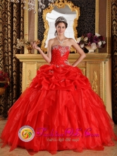 2013 Appliques with Beading Cheap Quinceanera Dress Red Sweetheart Organza Ball Gown In Nicoya Costa Rica Style QDZY342FOR