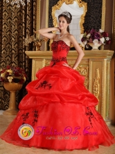 2013 Fashionable Red Embroidery Sweetheart Sweet 16 Dress With Pick-ups Organza Quinceanera Gowns In Quesada Costa Rica Style QDZY323FOR