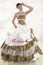 2015 Unique Leopard Quinceanera Dresses with Hand Made Flower XFNAO437FOR