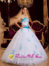 A-line Tulle Sweetheart Aqua and White Quinceanera Dress With Appliques Guapiles Costa Rica Style QDZY107FOR