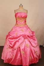 Affordable Ball Gown Strapless Floor-length Pink Taffeta Quinceanera dress Style FA-L-299