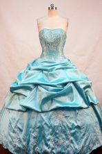 Affordable Ball Gown Strapless Floor-length Teal Taffeta Beading Quinceanera Dress Style FA-L-207