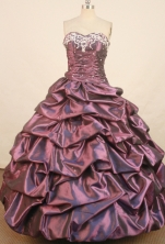 Affordable Ball Gown Sweetheart Floor-length Dark Puple Taffeta Embroidery Quinceanera Dress Style FA-L-136
