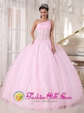 Baby Pink One Shoulder Beading Tulle Ball Gown For Sweet 16 Los Alcarrizos  Dominican Style PDZY751FOR