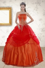 Beautiful Strapless Appliques Sweet 16 Dresses in Orange Red XFNAO525FOR