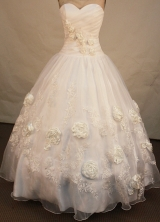 Beautiful ball gown sweetheart-neck floor-length organza appliques white quinceanera dresses FA-X-084