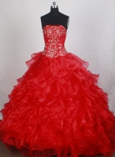 Beauty Ball Gown Strapless Brush Red Quincenera Dresses TD260050