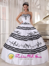 Black and White Quinceanera Dress With Sweetheart Neckline Embroidery ball gown for 2013 Tejar Costa Rica Style PDZY439FOR