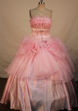 Brand New Ball Gown Strapless Floor-length Baby Pink Taffeta Beading Quinceanera dress Style FA-L-12