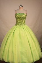 Brand New Ball Gown Strapless Floor-length Yellow Green Organza Beading Quinceanera Dress Style FA-L-188