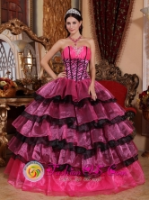 Brand New Multi-color Quinceanera Dress For 2013 Sweetheart Organza Ruffles Gorgeous Ball Gown for Graduation In San Rafael Costa Rica Style QDZY554FOR