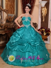 Brand New Turquoise 2013 Quinceanera Dress with Strapless Appliques Organza for Military Ball San Cristobal Dominican Style QDZY006FOR