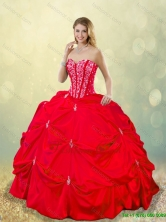 Cheap 2016 Beading and Pick Ups Quinceanera Gowns in Red SJQDDT185002-3FOR
