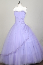 Classical Ball Gown Strapless Floor-length Lilac Quinceanera Dress X0426075