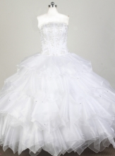 Classical Ball Gown Strapless Floor-length White Quinceanera Dress X0426078