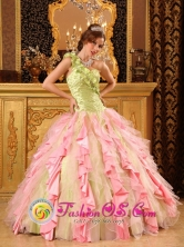 Custom Made One Shoulder Cheap Multi-Color Quinceanera Dress With  Ruffled Decorate Los Alcarrizos Dominican Style QDZY050FOR