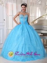 Custom made Sky Blue Taffeta and Organza Sweetheart Appliques beadings Quinceanera Dresses For Sweet 16 Aserri Costa Rica Style PDZY602FOR