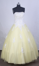 Cute Ball gown Strapless Floor-length Quinceanera Dresses Style FA-W-r17