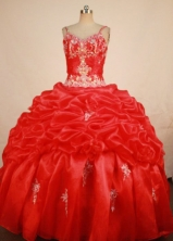Elegant Ball Gown Strap Floor-length Red Beading Quinceanera dress Style FA-L-330