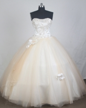 Elegant Ball Gown Strapless Floor-length Champagne Quinceanera Dress LZ426024