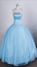 Elegant Ball Gown Strapless Floor-length Light Blue Quinceanera Dresses Style FA-C-71
