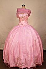 Elegant Ball Gown Strapless Floor-length Pink Quinceanera dress Style FA-L-310