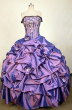 Elegant Ball Gown Strapless Floor-length Purple Quinceanera dress Style FA-L-306