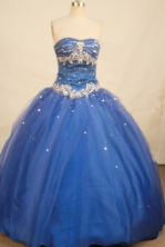 Elegant Ball Gown Strapless Floor-length Royal Blue Organza Beading Quinceanera Dress Style FA-L-152