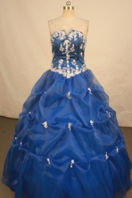Elegant Ball Gown Strapless Floor-length Royal Blue Organza Quinceanera dress Style FA-L-172