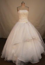 Elegant Ball Gown Strapless Floor-length White Organza Beading Quinceanera dress Style FA-L-160