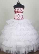 Elegant Ball Gown Strapless Floor-length White Quincenera Dresses TD260066