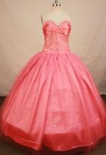 Elegant Ball Gown Sweetheart Floor-length Satin Waltermelon Beading Quinceanera Dress Style FA-L-148